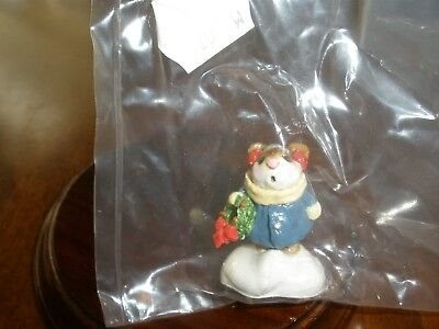 Wee Forest Folk HOLLY MOUSE M-087 1982 SEALED IN PLASTIC Blue Coat CHRISTMAS NEW