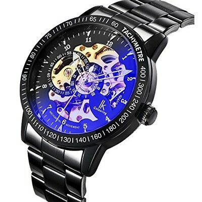 GuTe Casual Mens Black Steel Skeleton Automatic Coated Glass Wristwatch