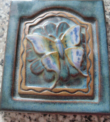 Vintage Irridecent 3-D  Pottery BUTTERFLY DESIGN ART NOUVEAU TILE