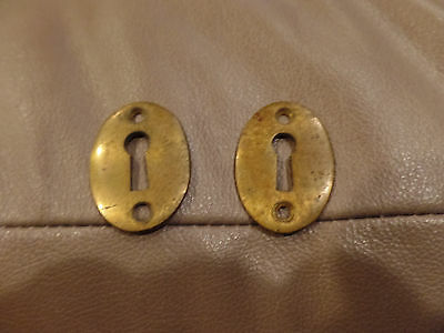 2 Vintage Brass  Oval Excussion Skelton Key Hole Face Plate Cover