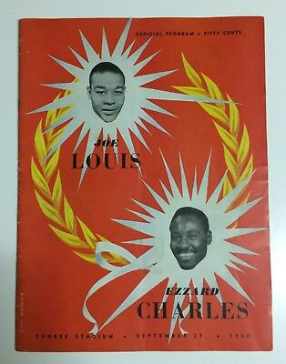 Joe Louis vs Ezzard Charles Official Boxing Programme 1950 Yankee Stadium
