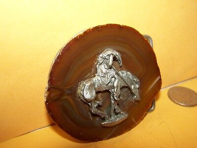 """1980s """"END OF THE TRAIL"""" NATIVE AMERICAN BELT BUCKLE NEW UNUSED INDIAN MADE"""