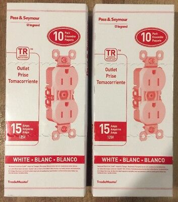 (Lot Of 2) Pass & Seymour 3232-Trwcp8 White Duplex Outlet 15Amp 10 Pack