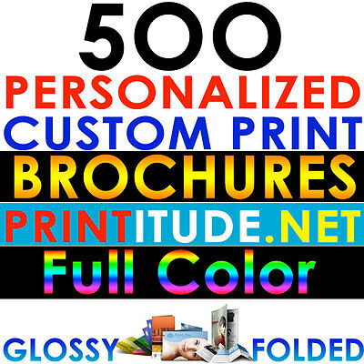 "Custom Printed 500 BROCHURE 8.5""X11"" FULL COLOR 2 SIDED 100LB GLOSSY FOLDED"