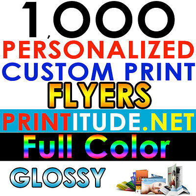 Custom Printed 1000 FLYERS 8.5X5.5 FULL COLOR 100LB GLOSSY DOUBLE SIDED PRINTING