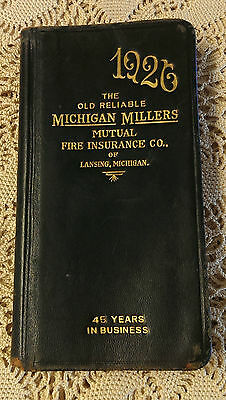 Vintage 1926 Leather Book Michigan Insurance - advertising, calendar, color maps