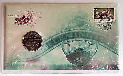2010 Unc 50c coin -150th Running of the Melbourne Cup - PNC Cover & 60c stamp
