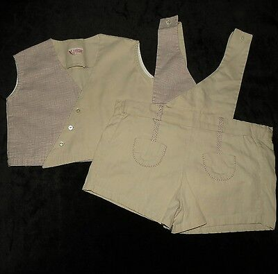 Vintage Judy Phillipine Inc Boys 2 Pc Plastic Lined Short Set Approx 18-24M