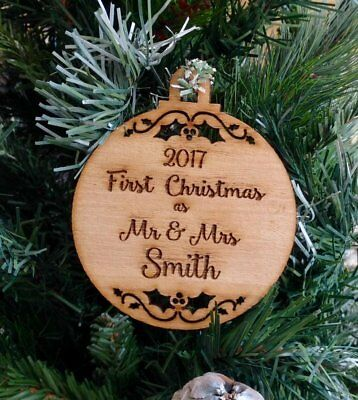Our First Christmas as Mr & Mrs SURNAME, Peronalised Rustic Wooden Christmas