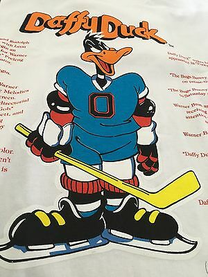 Vintage Warner Bros 1991 Looney Tunes Daffy Duck Hockey Sport T-Shirt Sz- L #88