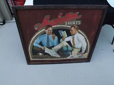 RARE VINTAGE CLOTHING SIGN! Manhattan Shirts 1930's Old Men' Store GAS OIL SODA