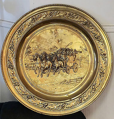 "VTG.  Embossed Brass Wall Plate-""WAGON TRAIN""  Lombard Made in England-REDUCED!!"