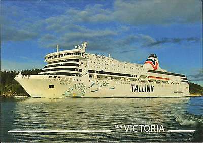Ship Postcard - Tallink Shipping Company M/s Victoria With Ship Stamp 1