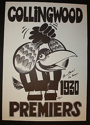 1930 Collingwood Premiers Weg Poster signed by 2 players Bowyer  Bruce Andrew