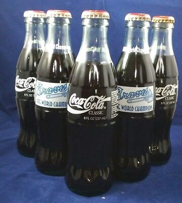 1995 Braves World Champions 8 oz Coke Bottles (Lot of 5)