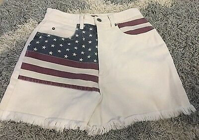 63 LIMITED JEANS Cotton Off White w/USA Flag Frayed High Waisted Shorts Size 16