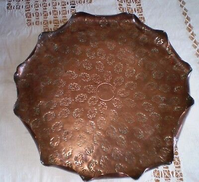 Arts And Crafts Pie Crust Copper Tray With Hand Stamped Design
