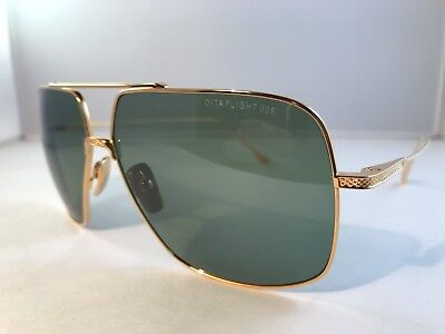 New Authentic DITA FLIGHT 005 sunglasses 7805 D 18K yellow gold vintage green