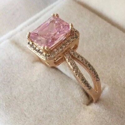 Antique Art Deco Vintage Rose Gold Ring Sapphire Pink White Stones size 7 or O