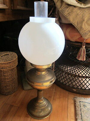 Antique Vintage Double Wick BRASS OIL LAMP with GLASS CHIMNEY & MILK WHITE SHADE