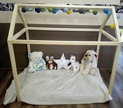 Children House Bed Frame Montessorii Scandynavian Style Natural Wood