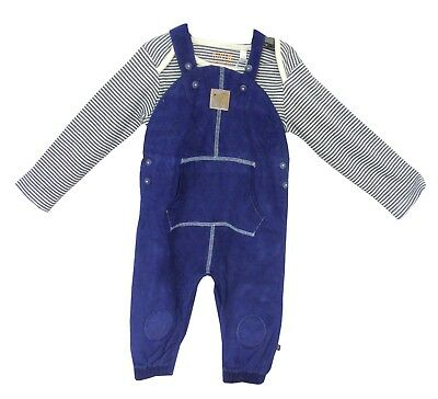 NEW! BHS Baby Boys Navy Blue Cord Dungarees Bodysuit Outfit Set Age 0-3-6-9-12