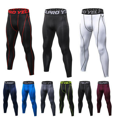 Men's Compression Running Legging Athletic Basketball Gym Spandex Pants Cool Dry