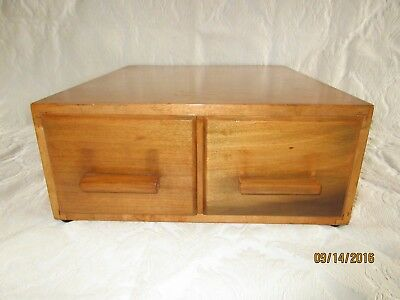 Vintage Maple Library File Index Card Wood Cabinet Box 2 Drawer