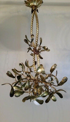 Antique Art Nouveau Bronze Mistletoe Chandelier Beaded French Graceful Tole chic