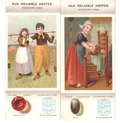 Lot: 2 Antique Trade/horoscope Cards Old Reliable Coffee Dutch Kids Birthstones