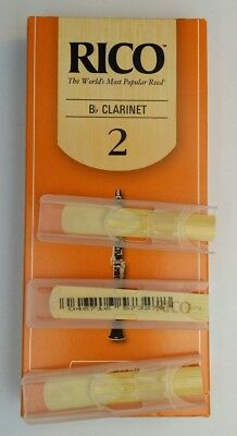 3 x RICO Bb Clarinet Reeds 2.0 strength *NEW* 3 pack, USA Made, FREE SHIPPING