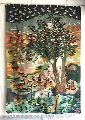 French Art Deco Signed Large Incredible Hand Wowen Wall Tapestry