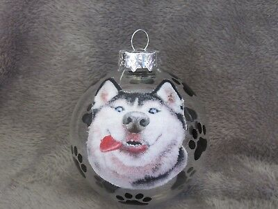 "Hand Made Siberian Husky Dog 3"" Glass Christmas Ornament/ball"