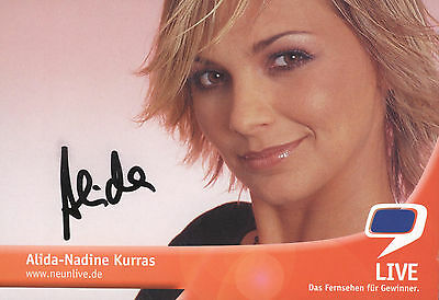 ALIDA KURRAS - TV-Fernsehmoderatorin, Gewinnerin Big Brother ; Originalautogramm