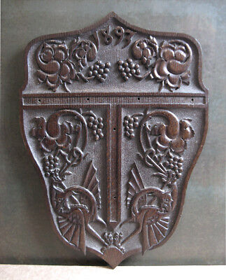 Large Victorian Gothic Oak Carved Shield Plaque Wyverns / Dragons & Grapes 1893