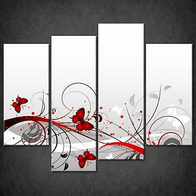 Abstract Foliage Butterflies Design Canvas Print Picture Wall Art Free Delivery