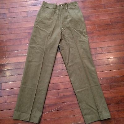 WWII US Army 30 x 33 Vintage 40s OD Wool Button Fly Fatigue Pants
