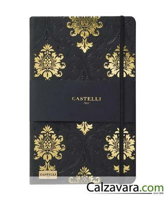 Notebook Castelli Black & Gold Collection cm 13x21 a Righe - Baroque Black&Gold