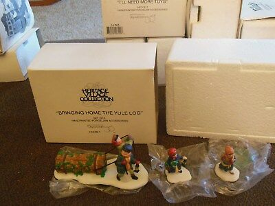"""Christmas Village Dept 56 ACCESSORY """"BRINGING HOME THE YULE LOG""""  MINT"""