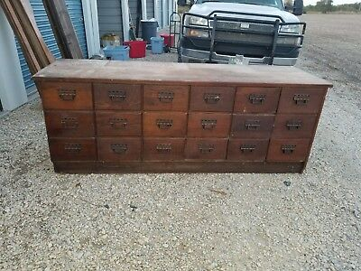 General or Country Store Oak Sherer Seed Bean  Counter  Cabinet