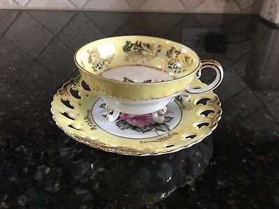 Royal Sealy 3 footed cup pierced edge saucer yellow, gold and pink red roses