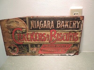 Antique Vtg Niagara Bakery Cracker Biscuit Wood Box Sign Advertising