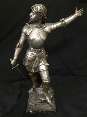 antique French statue (metal)  joan of arc 19th century large Lovely Patina