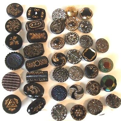Lot of 39 Antique Vintage Black Glass Buttons Gold Silver Copper Green Lusters