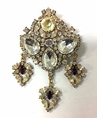 Vintage-Czech-Rhinestone A  Pin  Big Stones   Signed  Husar.d    L-181