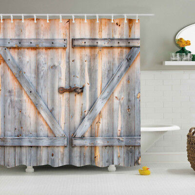 Vintage Rustic Barn Shed Farm Wood Door Bathroom Shower Curtain 180X180cm
