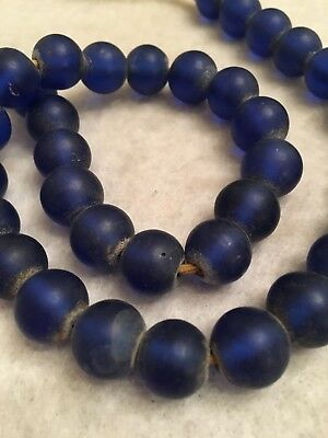 "17"" Vintage Nepal Blue Semi-Translucent Glass Padre Trade Bead Strand"
