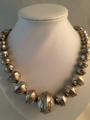 Vintage Native American Sterling Silver Elongated Round Bead Necklace, OLD PAWN