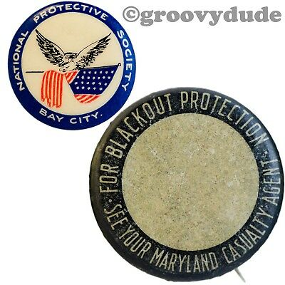 2 Vintage National Protective Society & Blackout Insurance Ad Pinback Button Lot