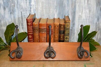 Antique French Wood Hat Coat Rack with 3 Cast Iron Hooks Wall Mount